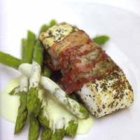 White fish wrapped in smoked bacon with lemon mayonaise for Bacon wrapped fish