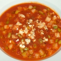 ... Ripened Tomato Soup With Edamame New Potatoes And Blue Cheese Recipe