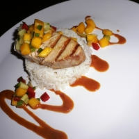 Grilled opah with mango cucumber salsa over coconut for Opah fish recipes