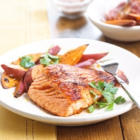 Image of Ancho Glazed Salmon With Sweet Potato Fries Recipe, Group Recipes