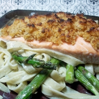 Mustard Crusted Salmon With Asparagus And Linguine Recipe
